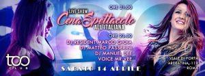 Too Club Roma Sabato 14 Aprile 2018 – Cena all'Italiana
